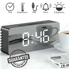 Led Alarm Clock Mirror Display with Dimmer Temperature with Usb Charging Port