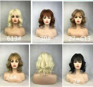 Women Wig Natural Short Wavy Curly Wig Ladies Hair Full Wigs+Wig Cap