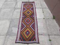 Kilim Old Traditional Hand Made Afghan Oriental Red Short Kilim Runner 188x65cm