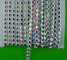 applique 6mm round colorful resin rhinestones silver plastic cup chain 10yards