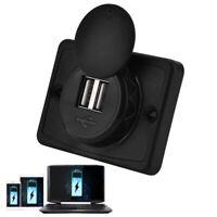 3.1A Car Dual Black ABS USB Port Charger Socket Outlet 12V LED Waterproof