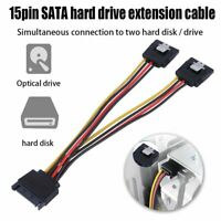 15Pin SATA Male to 2x 15Pin Female Y Splitter Adapter 20cm Power Cable