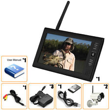 """Wireless 7""""TFT LCD 2.4G 4CH CCTV DVR Security System Monitor Night Vision Camera"""