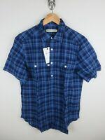 RM Williams Mens Gatton Linen Shirt Size M Short Sleeve Button Up Plaid New