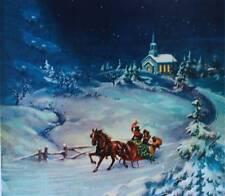 Vintage Winter Moon Light Christmas Horse Sleigh Church Print