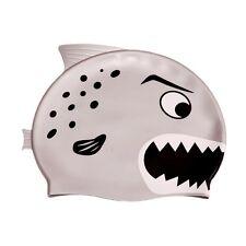Ishka Children Kids Silicone Swim Swimming Cap Hat Gary Grey Fin New