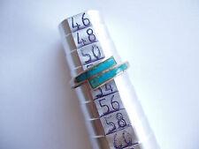 Bague vintage argent turquoise poinçonnée taille 52 vieillie stock ancien limité