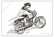 Ex-libris LELOUP Yoko Tsuno NB Moto Signé 15x21