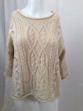 CALYPSO ST. BARTH Ivory Wool Cable Knit Pullover Sweater Lace Inserts Small