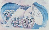 """1982 Hand Signed G. E. Mullan """"Acoma Pots"""" Exhibition Poster Art Print Navajo"""