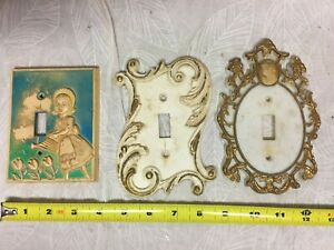 Lot 3 Vintage Switch Plate Covers Plastic Ornate