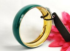 New J. CREW Bangle Bracelet Green Enamel Gold Tone NWT