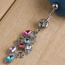 Colorful Crystal Dangle Ball Barbell Bar Belly Button Navel Ring Body Piercing
