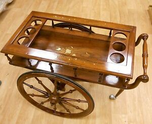 Hand Made Solid Rose Wood Bar / Drinks Serving Trolley Cart