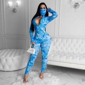 Fashion Sexy Women Print Long Sleeve Zipper Bodycon Jumpsuit Romper Club