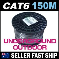 150m Black Cat6 Underground Outdoor Gigabit Ethernet Network LAN Cable Roll