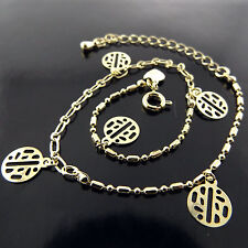 ANKLET GENUINE REAL 18K YELLOW G/F GOLD LADIES CHINESE GOOD LUCK CHARM DESIGN