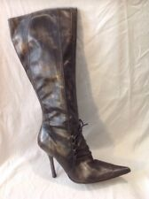 Faith Brown Knee High Leather Boots Size 5