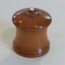 "19th C. TREEN Ware Wooden 3.5"" Box, Mother-of-Pearl Trim"