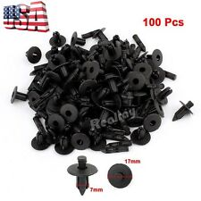 100 Pcs 7mm Hole Black Plastic Push in Rivet Interior Trim Panel Car Door Clips