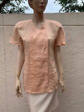 80'S Vintage Gucci Gorgeous 100% Linen Blouse Shirt Sz 42
