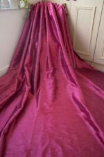 RASPBERRY RED PAIR CURTAINS,59WX86D,IKEA,SHIMMER,FAUX SILK,TAPE TOP,+GOLD TIES
