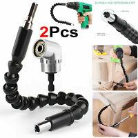 2pcs Right Angle Screwdriver Drill Bit Holder & Flexible Shaft Bits Extension UK