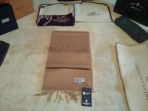NWT £225 Johnstons of Elgin X large pure cashmere camel scarf