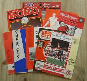 9 Middlesbrough Home & Away Football Programmes – 1965-1989 – All Listed