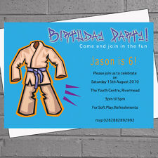 Personalised Boys Kids Karate Suit Birthday Party Invitations x 12 +envs H0224