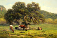 Landscape Texas Longhorn Oil Painting Giclee Art Printed on canvas L1952