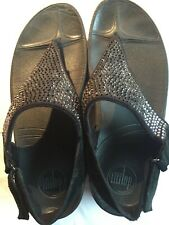 FITFLOP FLARE BLACK SUEDE RHINESTONES BACK STRAP SANDALS WOMEN'S 8