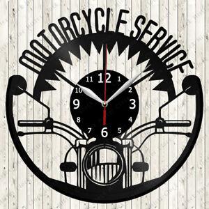 Motorcycle Service Vinyl Record Wall Clock Decor Handmade 6537