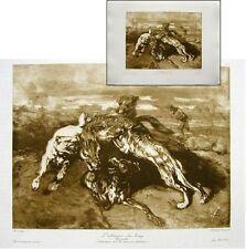 Alexandre-Gabriel Decamps l'attaque du loup Héliogravure Chauvet maître dessin