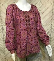 Robert Graham Pink Long Sleeve Floral Beaded Indian Boho Blouse Womens Small