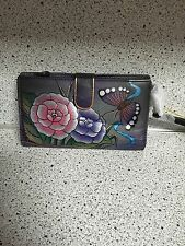 Anuschka Hand Painted Genuine Leather Wallet (Antique Rose Pewter)