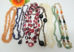GLASS, STONE & MOTHER OF PEARL BEAD NECKLACE LOT - FASHION JEWELRY LOT