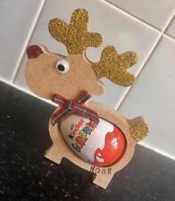 18mm Free Standing personalised  Xmas Kinder Egg Holder MDF Rudolf