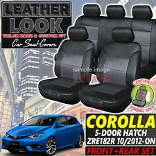 CUSTOM FIT LEATHER LOOK SEAT COVERS for TOYOTA COROLLA HATCH ZRE182R 2012-2018
