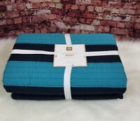 Pottery Barn Teen Rugby Stripe Quilt Full Queen Navy Blue Teal