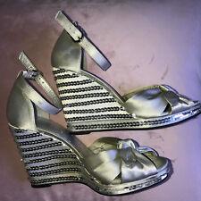 BCBG Silver Satin Leather Wedge Sandals Sz 37-6'5