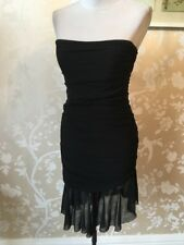 Vicky Martin Strapless Size 8 Black Ruched Asymmetrical Hem Bodycon Dress