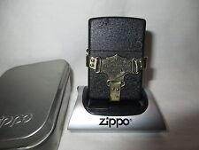 VERY NICE 1996 HARLEY DAVIDSON BLACK CRACKLE BOOTSTRAP ZIPPO LIGHTER