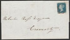 1840 SG5 2d BLUE PLATE 1 RED CROSS SCOTTISH COVER FINDHORN TO CROMARTY FORRES MK