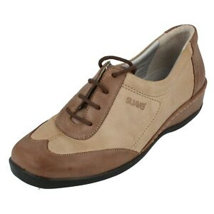 Ladies Suave de Cuña Cordones Beige/Oscuro Leather Zapato Euro 36Mel