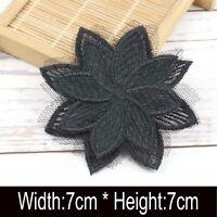 3D Flower Lace Trim Ribbon Applique Patch Embroidered Sewing Motif Craft 7X7cm