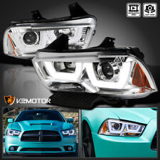 For 2011-2014 Dodge Charger Clear Dual LED DRL Strip Projector Headlights Lamps