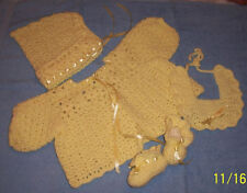 Yellow Hand-Crocheted Handmade 4-Piece Baby Sweater Set 0-6 mo