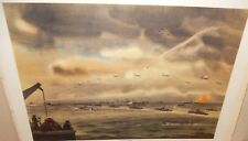 "MITCHELL JAMIESON ""MORNING OF D-DAY FROM LST"" LARGE COLOR MILITARY LITHOGRAPH"