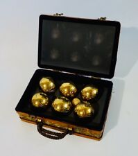 Vtg Brass Bocce Ball Set Wicker Case Petanque Lawn Bowling Game La Boule Obut